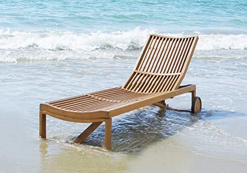 Interbuild Stockholm Sun Lounger   Outdoor Patio Adjustable Chaise Lounge Chair   Folding Sleeping Chair, Golden Teak Finishing