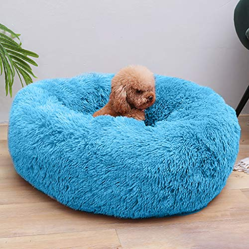 BXzhiri - Plush Round Small Dog & Cat Bed, Winter Warm Sleeping Bag Long Plush Soft Pet Bed Calming Bed Ultra Soft for Dogs & Cats - Multiple Styles, Sizes, Colors