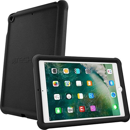 TECHGEAR Schutzhülle für neues iPad 9,7 Zoll 2018/2017, [Kinderfreundlich] Leichtes Koffer Silikon Soft Shell Anti-Rutsch-Shockproof + Displayschutzfolie. für 5. und 6. Gen iPad 9,7 - Schwarz