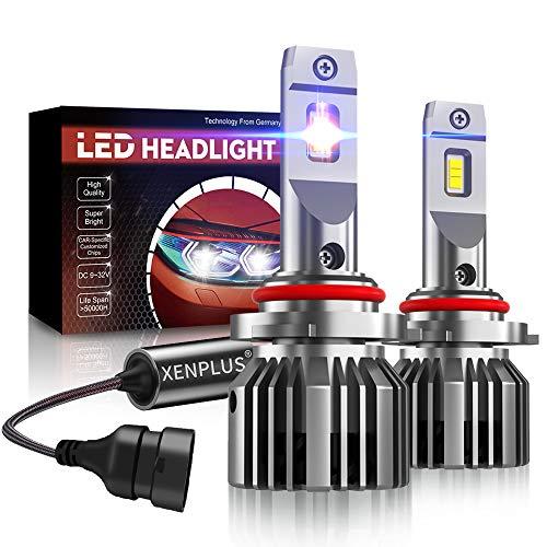 XENPLUS Ampoules 9005/HB3 LED 10600LM Phares pour Voiture 60W 12V Super Bright 5530 Chips Kit de conversion tout-en-un, Ampoule réglable à 360 °, 6500K Blanc,2 pièces