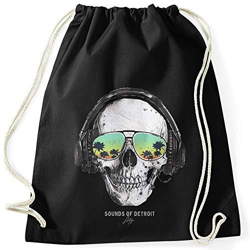 Autiga® Turnbeutel Totenkopf Skull Sonnenbrille Schädel Sounds of Detroit Music Hipster Beutel Tasche Gymsac schwarz Unisize
