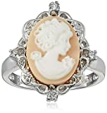 Jewelili Sterling Silver Pink Cameo Oval with Created White Sapphire Ring, Size 7