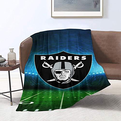 Manta de forro polar con diseño de equipo de fútbol americano Oa-kland-R-aiders con estampado Sherpa, tamaño doble, perfecta para sofá o viaje tamaño individual (152,4 x 127 cm)