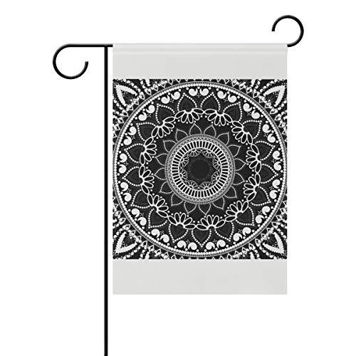 DEZIRO Drapeau de Jardin Mandala Ethnique Double Face - Motif Floral Noir, Polyester, 1, 28x40(in)