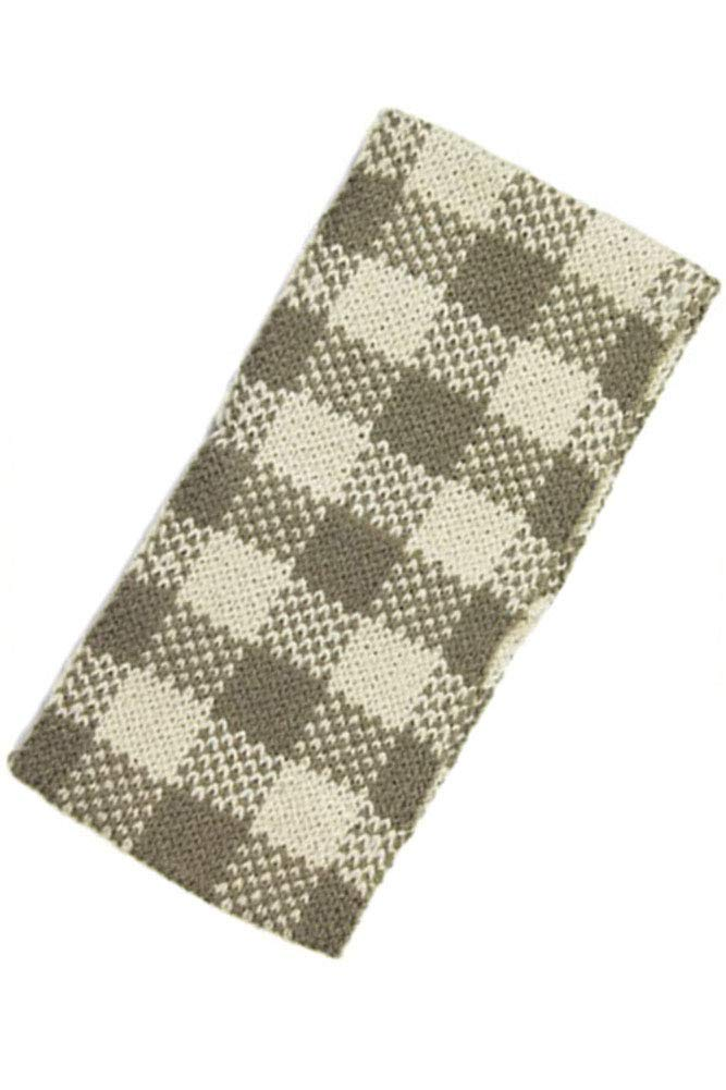 ScarvesMe Women's Plaid and Check Winter Warm Thick Cable Knit Headband Headwrap Accessories (Taupe)