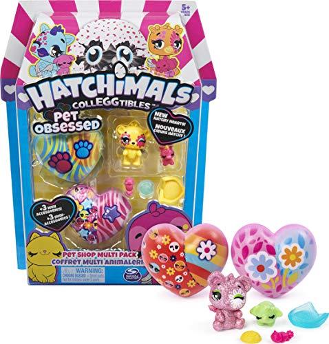 Hatchimals CollEGGtibles, Pet Obsessed Pet Shop Multi-Pack con 3 CollEGGtibles, 3 Mascotas y Accesorios (los Estilos Pueden Variar)