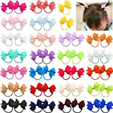 50pcs 2' Baby Bows Hair Ties Rubber Band Ribbon Hair bands Ropes for Baby Girls Kids Children 25 Colors in Pairs