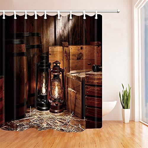 MMPTN Western Cowboy Duschvorhang American Texas Stil Land Licht auf Holzboden