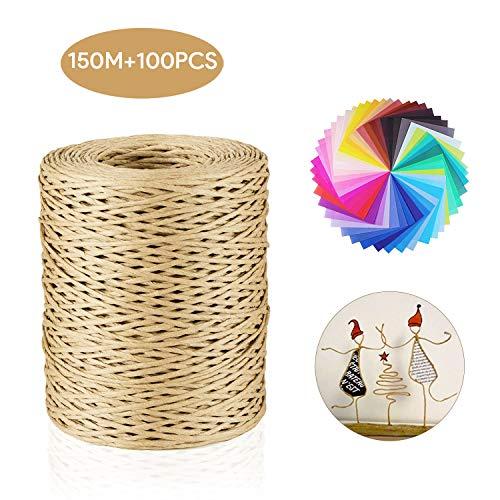 Qhui Papierdraht Set, 150M Papierkordel Natur Farben Dekodraht Eisendraht zum Basteln und 100 Blatt Origami Papier, Basteldraht für DIY Weihnachten Hochzeitsstrauß Verpackung Blumengesteck Werkzeuge