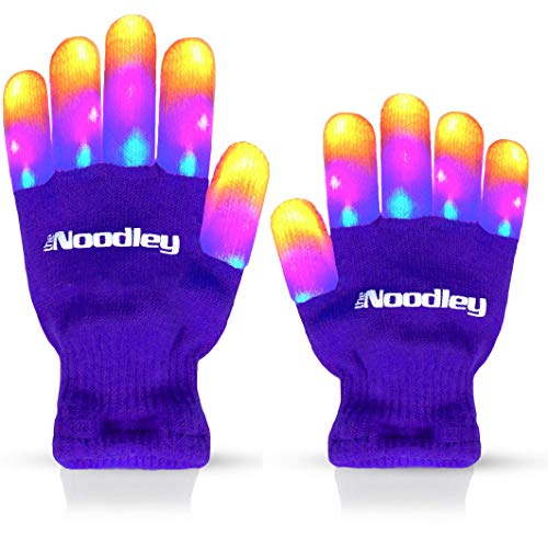 The Noodley Flashing LED Finger Light Gloves with Extra Batteries - Kid Sized...