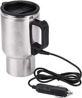 Nikou Taza eléctrica para Coche, hervidor eléctrico de 12 V, 450 ml, Taza calefactora de Acero Inoxidable para Coche, herv...
