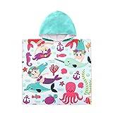 ED-Lumos Toalla de baño con Capucha para niño niña Poncho Playa Infantil Portátil Microfibra Albornoz 4-7 años Sirena