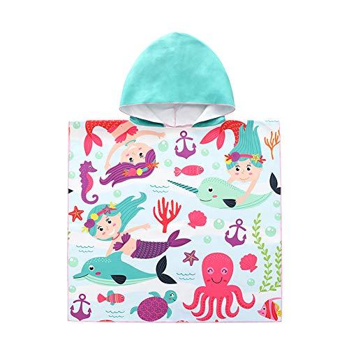 ED-Lumos Toalla de baño con Capucha para niño niña Poncho Playa Infantil Portátil Microfibra Albornoz 4-7 años Sirena 🔥