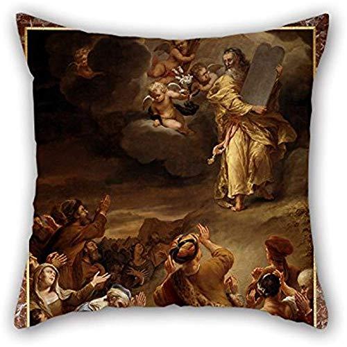 Federa della pittura a olio Ferdinand Bol-Moses discende dal Monte Siniai con i dieci comandamenti per divano da salotto Salotto Son Seat 45X45Cm