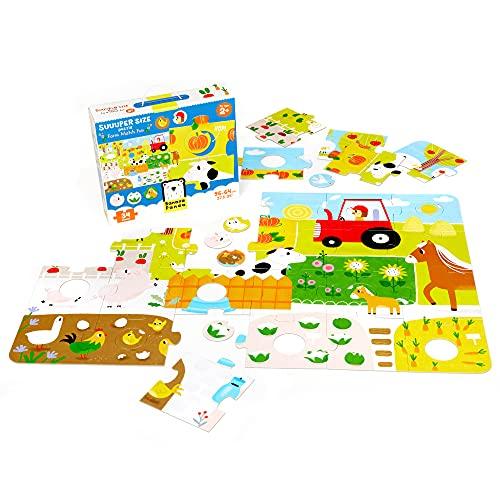 Banana Panda 49108, Spiel, Suuuper Size Puzzle Farm Match Fun – Großes Bodenpuzzle und Zuordnungsaktivität mit 34 Teilen, für Kinder ab 2 Jahren und älter