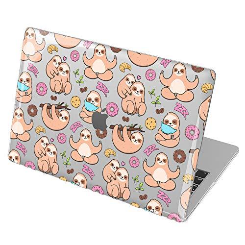 Lex Altern Hardshell Case for Apple MacBook Air 13 2020 Mac 16 2019 Pro 15 inch Retina 2018 2017 12 11 Laptop Cute Clear Meditation Plastic Protective Kawaii Sloth Funny Doughnut Donut mch020