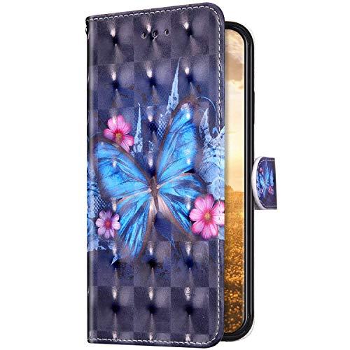 Uposao Kompatibel mit Samsung Galaxy A80 / A90 Hülle Leder Handyhülle Bunt Glänzend Bling Glitzer Klapphülle Flip Case Schutzhülle Brieftasche Wallet Ledertasche Kartenfächer Magnet,Schmetterling