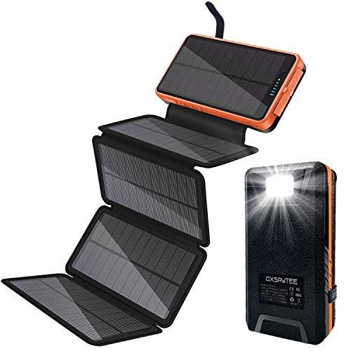 Oxsaytee Batería Externa 26800mah Power Bank Solar, Cargador Solar 2 entradas (5 Paneles solares y USB) Lámpara LED y Gancho, batería portátil AVCE 2.1A 2 Puertos para iPhone iPad Samsung y Otros