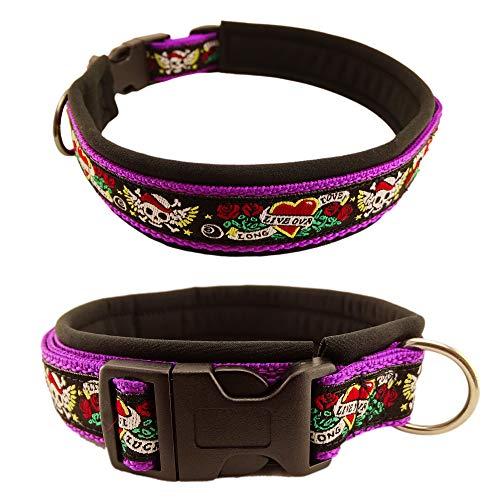 Eve Couture Hundehalsband Halsband Hund Skulls & Hearts Rockabilly Rock´n Roll verstellbar Totenkopf Skull violett lila schwarz 30mm (L (ca. 42-48cm))