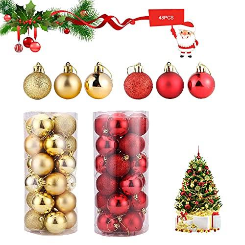Plastica Infrangibili Palle Di Natale Decorazioni 48 Pezzi Bagattelle Per Alberi Di Natale Set Di Palle Di Natale Palle Di Natale Ornamenti Oro E Rosso Albero Di Natale Hanging Set Di Palle