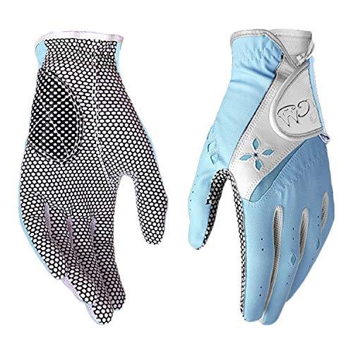 PGM Guante de golf para mujer, un par, sistema de agarre mejorado, fresco y cómodo (azul, 17, XS)