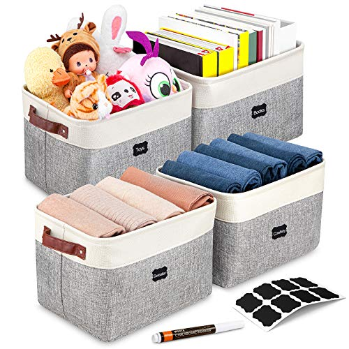 Artsdi Foldable Storage Bin With 8 Labels and a Pen   Large Collapsible Sturdy Cationic Fabric Storage Basket Cube With Handles for Organizing Shelf Nursery Home Closet (Gray and White - 4 Pack )