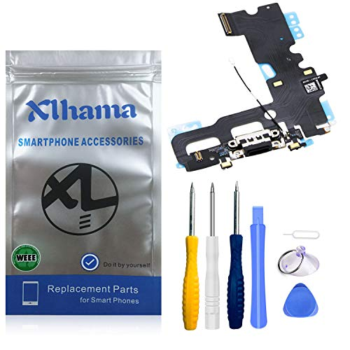 Xlhama Connector Dock Compatible con iPhone 7 (Negro) Charging Port Puerto de Carga de Repuesto Puerto USB de Carga, Cable Flexible, Micrófono, Conector de Audio, Antena, Incl.Tools
