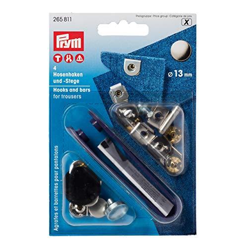 Prym 265811 Nähfrei-Hosenhaken und Stege ST 13 mm silberfarbig/brüniert, Stahl