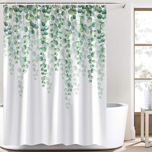 Bonhause Duschvorhang 180 x 180 cm Eukalyptus Blätter Grüne Pflanze Duschvorhänge Anti-Schimmel Wasserdicht Polyester Stoff Waschbar Bad Vorhang für Badzimmer mit 12 Duschvorhangringen