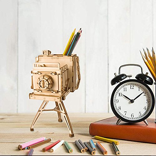 RoWood Wooden Pen and Pencil Holder Puzzle Kit, Desk Organizer Home Office Bedroom Decor - Vintage Camera