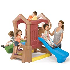 This two-tiered outdoor kids climber features two slides for double the playtime fun Kids can race down the slides or use the rotating steering wheel Durable climbing wall and ladder with hand holds let kids feel safe when climbing Climber can hold 1...