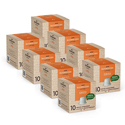 BANDOLERO 100% Kompostierbar Made in Italy, 80 Nespresso-kompatible Kapseln, Gerste aus ökologisch nachhaltigem Anbaue, Unverwechselbares Aroma für die Nespresso-Maschine