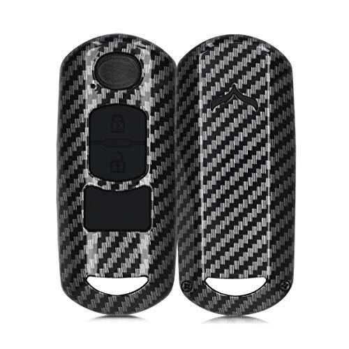 kwmobile Funda Compatible con Mazda Llave de Coche Keyless Go de 2 Botones - Carcasa Dura para Llave de Coche Mando de Auto - Carbono Negro