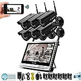 L.TSA 1080P 2MP Kit de videovigilancia LCD inalámbrico NVR Sistema de cámara de Seguridad WiFi CCTV Set HD Tecnología P2P Visión Nocturna con Disco de Disco Duro de 2TB (2/4/6/8 CH), 6CH