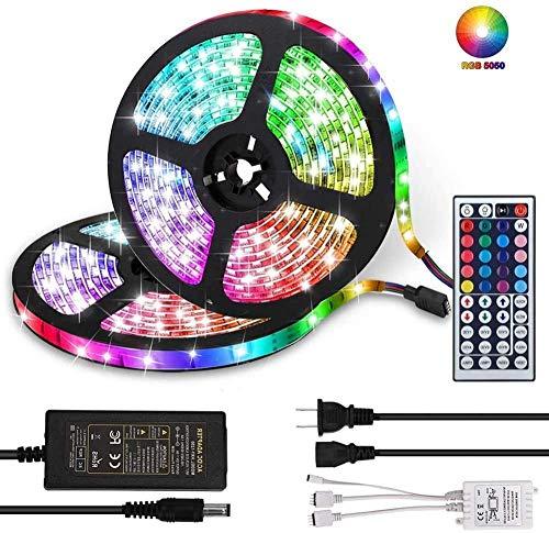 LED-Streifenleuchten 32,8 Fuß / 10 M RGB DC 12 V LED-Lichtleisten SMD5050 300 LEDs Wasserdichtes, farbwechselndes flexibles LED-Streifen-Kit für Zimmer Schlafzimmer TV Küchenschreibtisch Uptodate