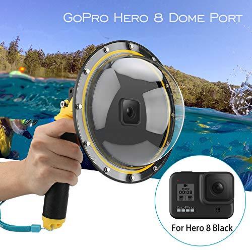 AuyKoo Dome Port Wasserdichtes Gehäuse für GoPro Hero 8 Black Zubehör mit Abzugswaffe und schwebender Griff Unterwasser-Kuppel