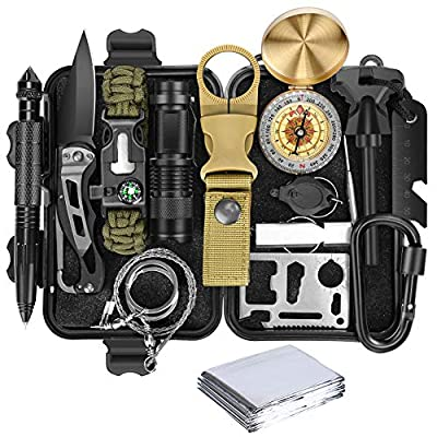 Lanqi Gifts for Men, Emergency Survival kit 16 in 1, Survival Gear, Tactical Survival Tool for Cars, Camping, Hiking, Hunting, Fishing from Lanqi