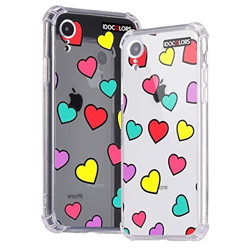 Idocolors Handyhülle für iPhone 6 Plus / 6s Plus Süßer Herz Hülle Transparent Durchsitig Stoßfest [ Eckenschutz + Weiches TPU ] Dünn Slim Case Cover Bumper Schtzhülle