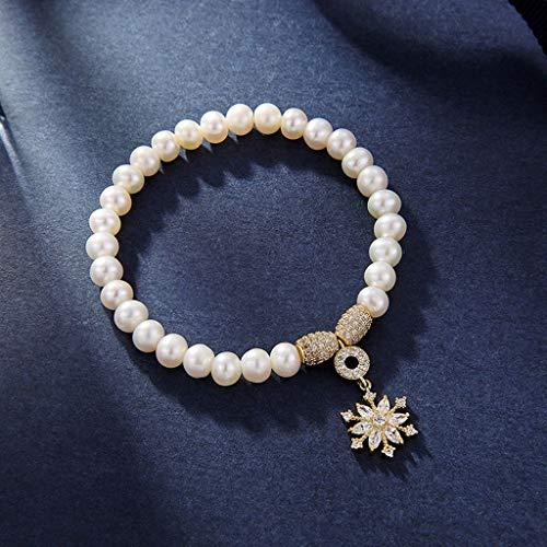NYKK Pulsera de Plata Regalo del día del Copo de Nieve Colgante Estilo estática Pulsera Pulsera Blanca Mujeres Accesorios de Moda Valentín de la Novia Pulsera Mujer
