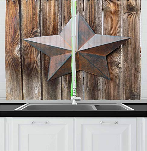 """Ambesonne Prehistoric Country Kitchen Curtains, Antique Rusty Star on The Weathered Wooden Planks Vintage Retro Image, Window Drapes 2 Panel Set for Kitchen Cafe Decor, 55"""" X 39"""", Brown"""