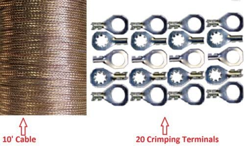 10 304cm x 0 35 Copper Ground Strap Cable Do It Yourself Terminal Kit Braided Wire product image