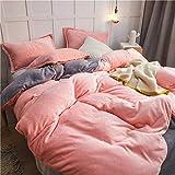Bedding-LZ Winter bettwäsche 200x200-Bettbezug Winter warm doppelseitige Studentenbettlaken Schlafsaal einzelne Bettbezug Kissenbezug B_1,5 m Tagesdecke (4 Stück)
