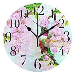 ATONO Bird Hummingbird On Cherry Blossoms Silent Non-Ticking Round Wall Clock [Battery Operated] Home Decorative Easy to Read Aesthetic Kitchen Office School Living Classroom Bedroom Use