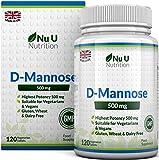 D-Mannose Comprimés de 500mg   120 Comprimés   Forte Puissance   Sans Allergènes et Convient aux Végétariens et Végétaliens   Pas de Capsules ou de la Poudre de D-Mannose