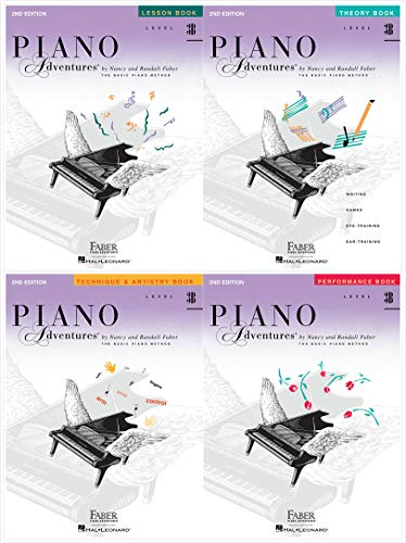 Faber Piano Adventures Level 3B Set (4 Books) 2nd Edition - Lesson, Theory, Technique & Artistry, Performance
