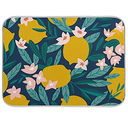 Lemon Theme Dish Dry Mats for Kitchen Counter Absorbent Baby Bottle Dryer Pad Dish Drainer Mats for Countertop 18x24In