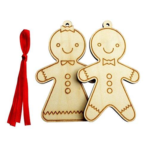 WINOMO 2pcs Noël décoration en bois creux pendentif exquis Biscuit homme série
