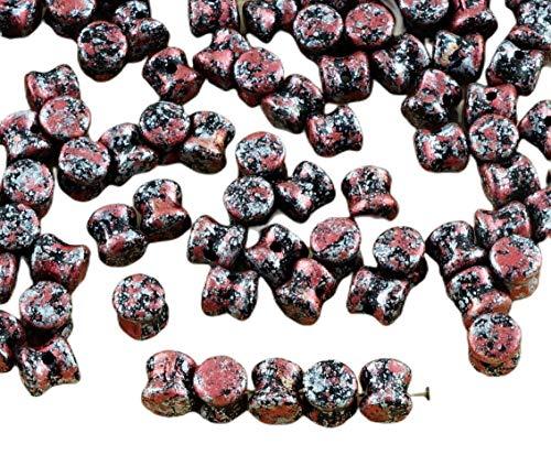 60pcs Opaca de color Negro azabache, de Granito Rojo Plata Tweedy Pátina...