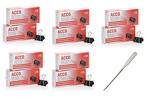 ACCO Binder Clips, Medium, 12/Box, 10 Boxes (120 Clips Total) (72050)