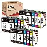 Toner Kingdom Compatible para 15 confezioni 27XL 27 Cartuchos de tinta de repuesto para Workforce WF-7720 WF-7620 WF-7110 WF-3640 WF-7610 WF-7210 WF-7715 WF-7710 WF-3620